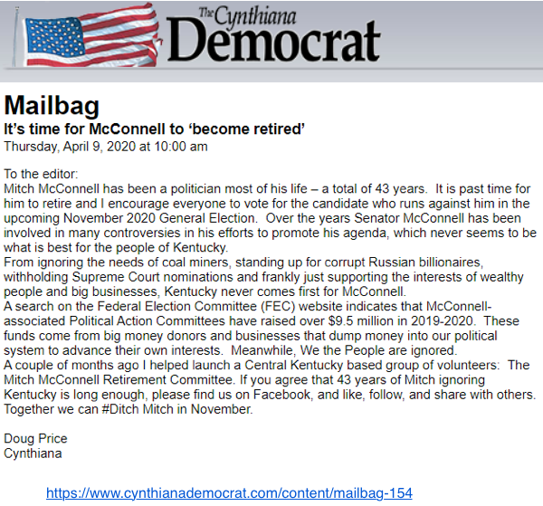 Screenshot of letter to the editor in the Cynthiana Democrat (published April 9, 2020) by Doug Price
